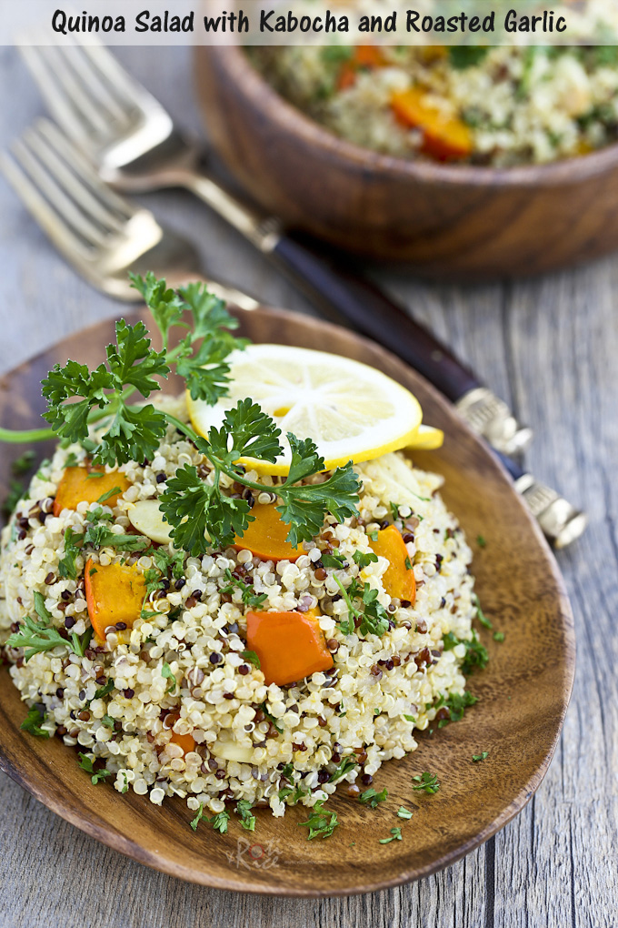 This Quinoa Salad with Kabocha and Roasted Garlic makes a light and healthy lunch or a tasty side dish. Meyer lemon gives the dish a nice zing! | RotiNRice.com