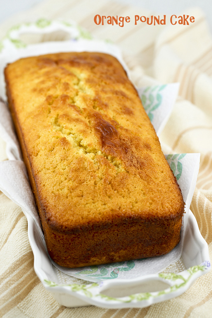 Orange Pound Cake fresh out of the oven. Not sliced yet.