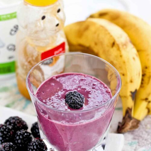 Thick, luscious, creamy, and satisfying Blackberry Banana Smoothie.
