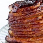 Beautifully caramelized spiral Baked Ham.