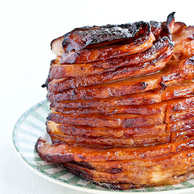 Glistening layers of Baked Ham with Pineapple Brown Sugar Glaze.
