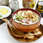 Use leftover bone-in ham to make this Ham Rice Porridge (Ham Congee). It is deliciously creamy and comforting with a hint of smokiness. | Food to gladden the heart at RotiNRice.com