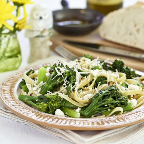 Quick and easy Pasta with Broccolini and Feta in under 30 minutes. Perfect for busy weeknights or lazy weekends. | Food to gladden the heart at RotiNRice.com