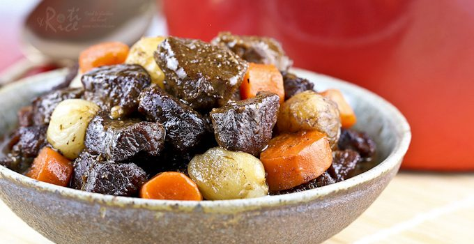 A slight Asian twist to this hearty Beef Stew with Pearl Onions and Carrots. Delicious with a bowl of steamed rice or crusty bread.   Food to gladden the heart at RotiNRice.com