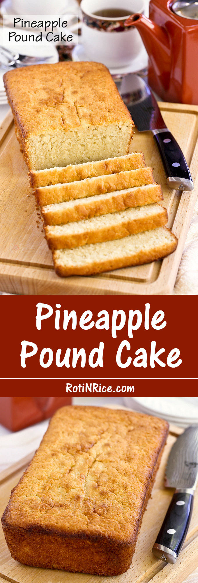This Pineapple Pound Cake is made with pineapple puree for a finer and smoother textured pineapple cake. It is deliciously moist and tender. | RotiNRice.com