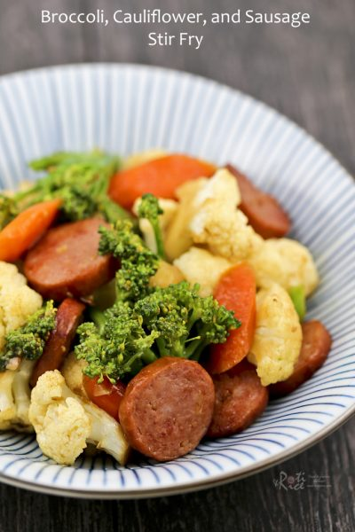 Broccoli, Cauliflower, and Sausage Stir Fry using easily available ingredients.