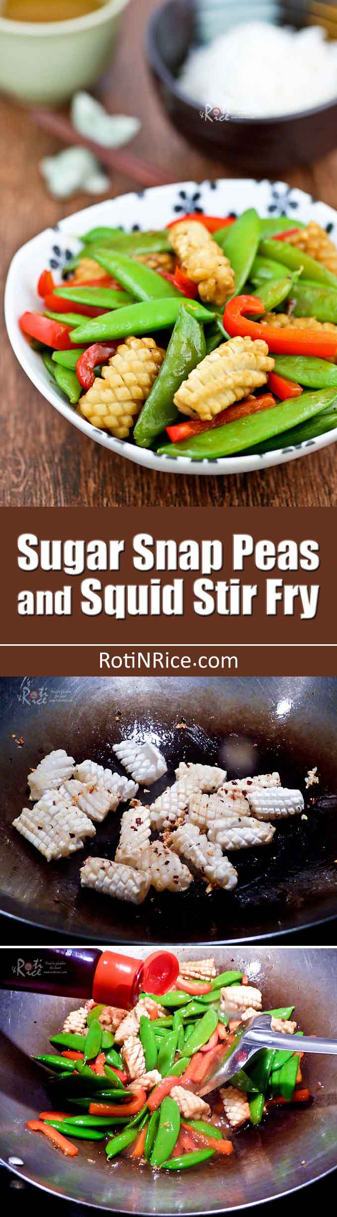 Super quick and easy Sugar Snap Peas and Squid Stir Fry in 20 minutes. The squid is tender and juicy while the sugar snap peas are sweet, crunchy, and tasty. | RotiNRice.com