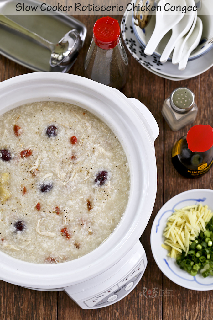 This Slow Cooker Rotisserie Chicken Congee is a delicious way to use up leftover rotisserie chicken. Makes a soothing and comforting breakfast or lunch. | RotiNRice.com