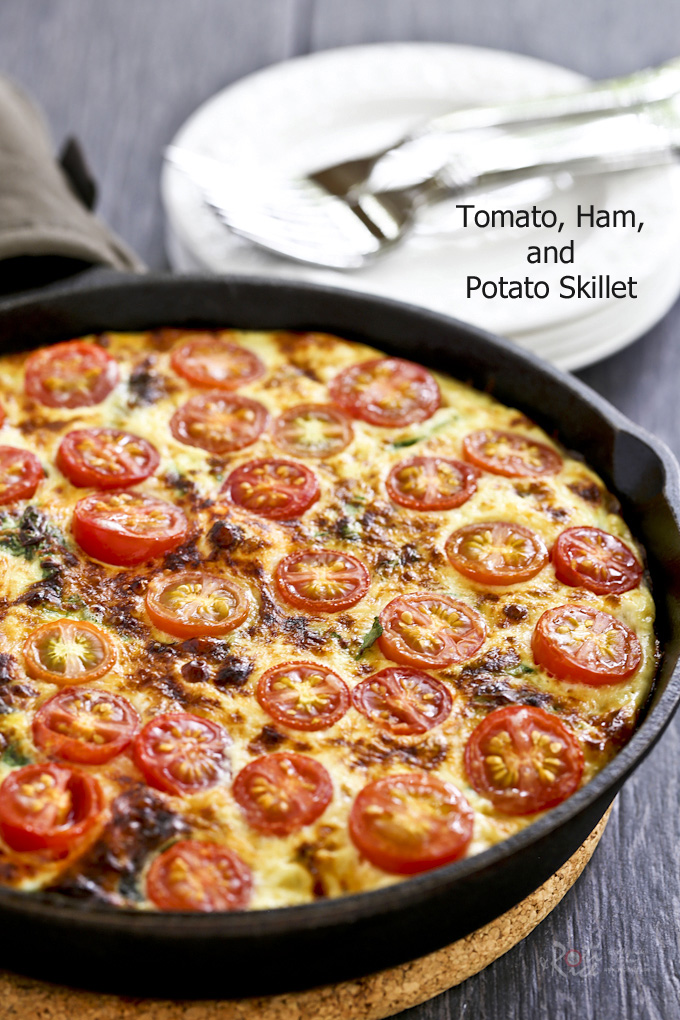 This hearty and delicious Tomato, Ham, and Potato Skillet is a great way to use up homegrown or store bought cherry tomatoes. Makes a delicious weekend breakfast or brunch. | RotiNRice.com