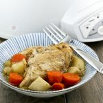 This Slow Cooker Chicken Stew is an all season comfort food complete with carrots, celery, and potatoes. Delicious with crusty bread or rice. | Food to gladden the heart at RotiNRice.com