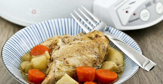 This Slow Cooker Chicken Stew is an all season comfort food complete with carrots, celery, and potatoes. Delicious with crusty bread or rice.   Food to gladden the heart at RotiNRice.com