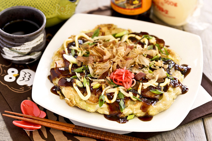 Okonomiyaki japanese cabbage pancakes roti n rice okonomiyaki savory japanese cabbage pancakes topped with shrimps bacon and a variety of forumfinder Image collections
