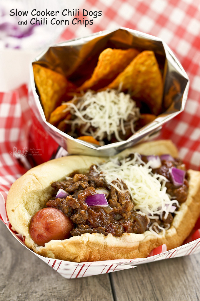 All dressed up Slow Cooker Chili Dogs and Chili Corn Chips.