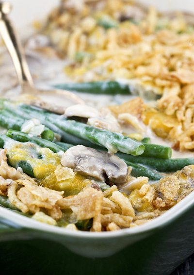 Made from scratch creamy tender crisp Green Bean Casserole with fresh mushrooms. The quintessential side dish for the holidays. | RotiNRice.com #greenbeans #greenbeancasserole #thanksgivingrecipes