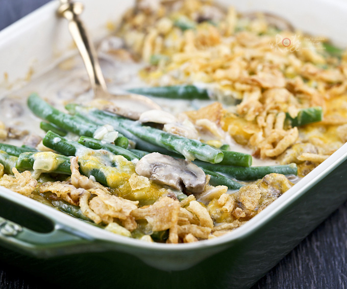 Made from scratch creamy tender crisp Green Bean Casserole with fresh mushrooms. The quintessential side dish for the holidays.| RotiNRice.com
