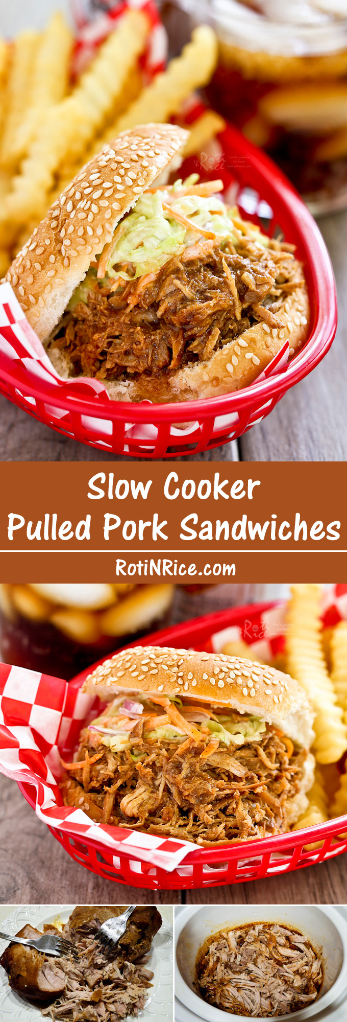 Easy Slow Cooker Pulled Pork Sandwiches flavored with home blended spice mix. Minimum preparation time and can feed a crowd. Great for tailgate parties. | RotiNRice.com