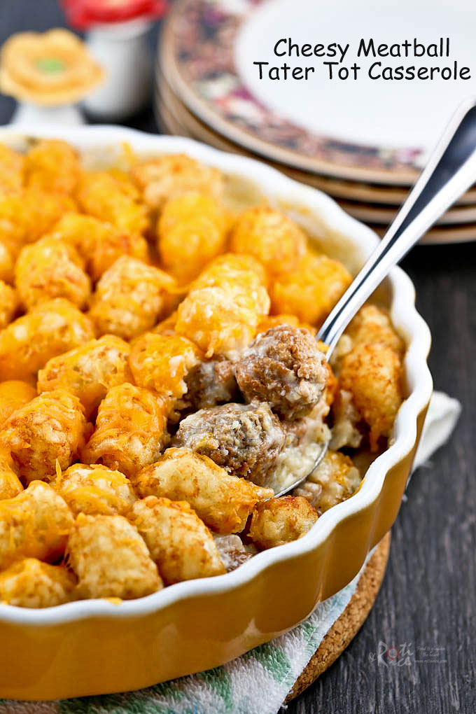 Piping hot Cheesy Meatball Tater Tot Casserole fresh out of the oven.