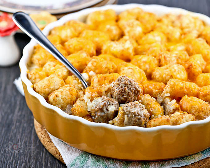 Warm, delicious, and satisfying meatballs and tater tots.