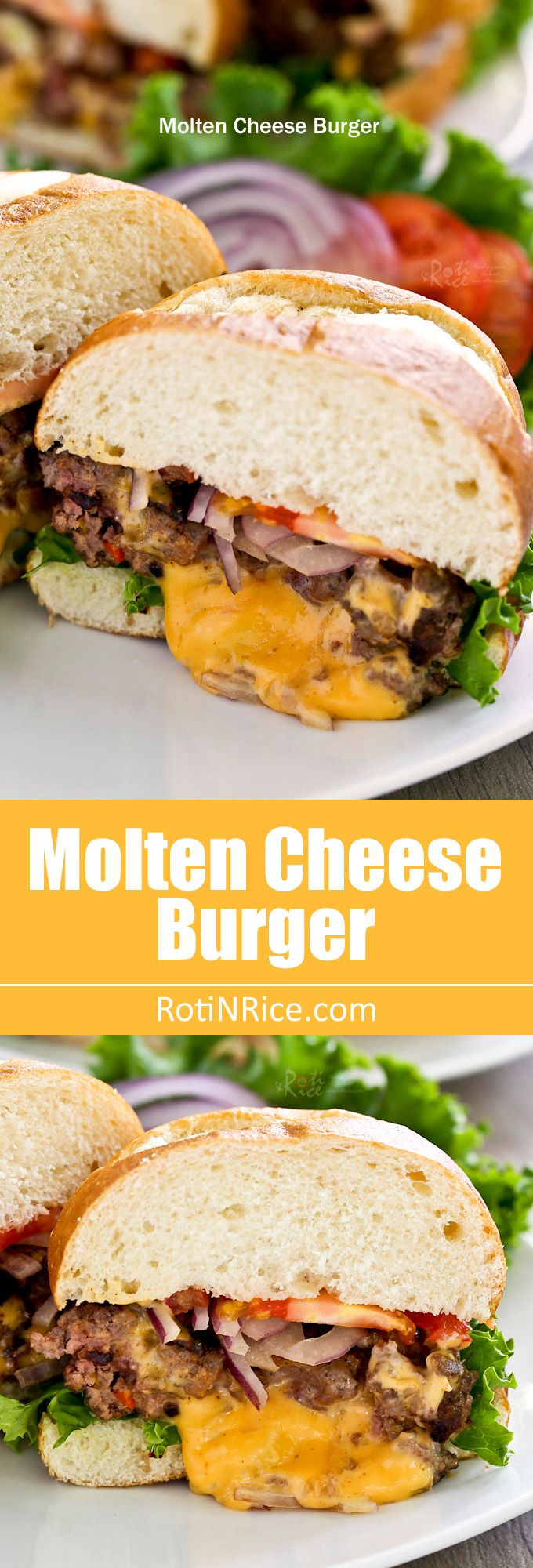 These Molten Cheese Burger oozing with melted cheese and flavor are the juiciest hamburgers you ever tasted. They are a must try! They are the juiciest burgers you ever tasted. | RotiNRice.com