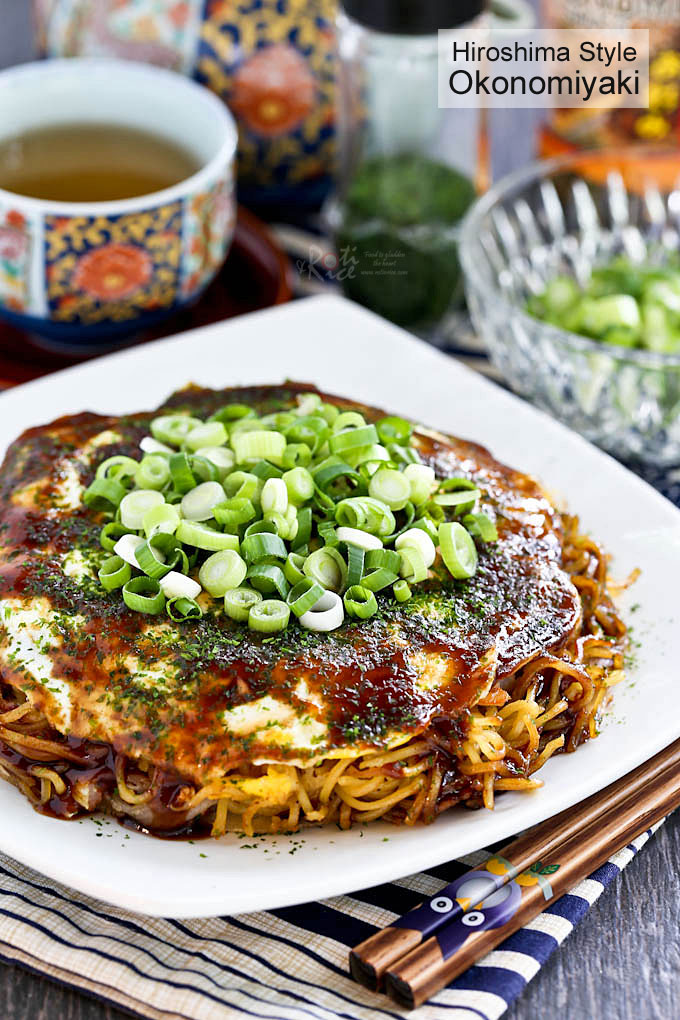 Delicious Japanese Layered Pancakes topped with green onions.