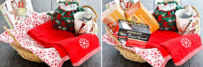 Hostess Gift Baskets and Pumpkin Spice Latte - a tutorial on how to create last minute holiday hostess gift baskets and enjoying a warm cup of latte. | RotiNRice.com