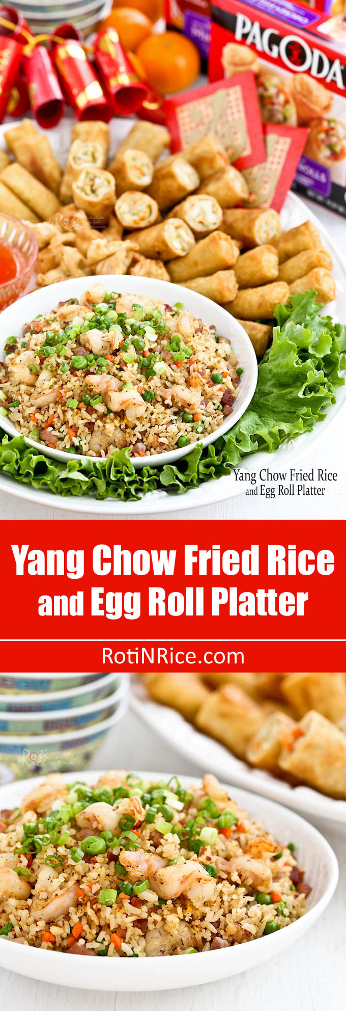 Yang Chow Fried Rice, a popular fried rice cooked with ham, shrimps, carrots, green peas, and eggs. Delicious served with Pagoda egg rolls. | RotiNRice.com