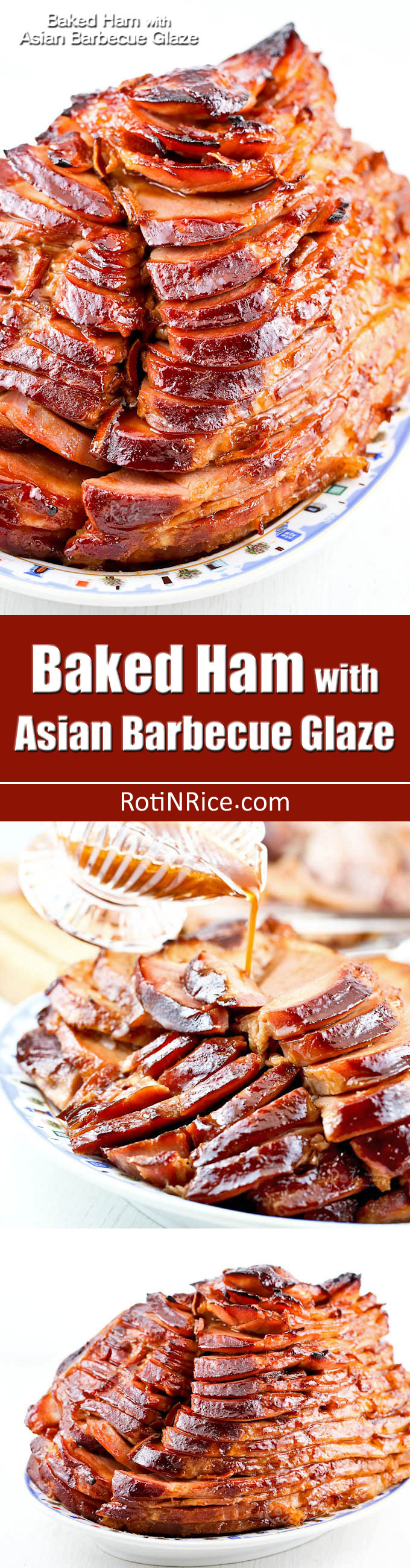 Baked Ham with Asian Barbecue Glaze made of hoisin sauce and dried clementine peel. Beautifully caramelized and perfect for any occasion. | RotiNRice.com