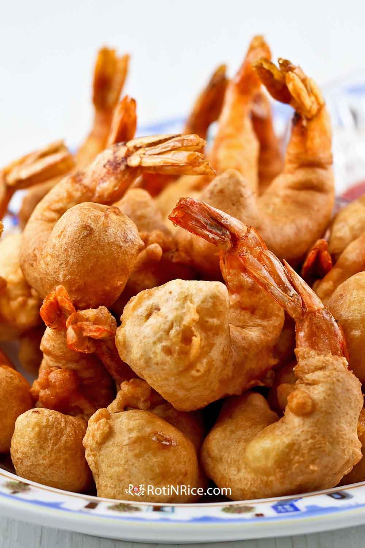 Beautifully deep fried Golden Shrimp Puffs (Shrimp Fritters).