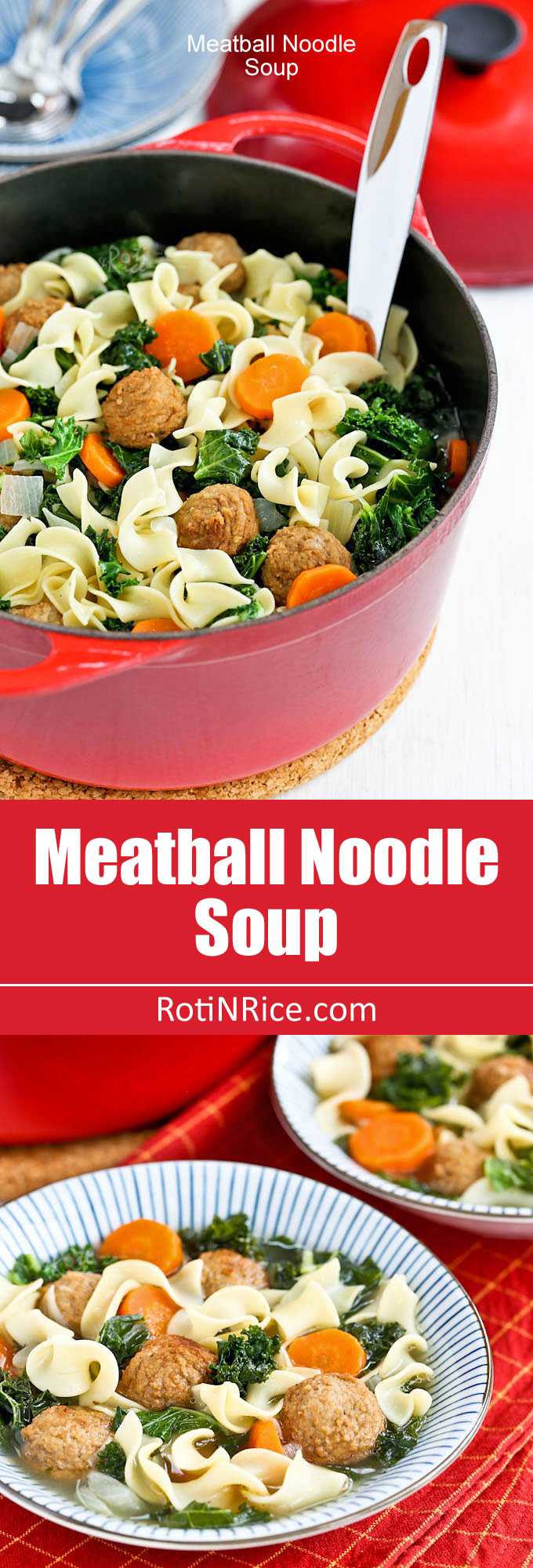 This warm and delicious Meatball Noodle Soup is comfort in a bowl. Very easy to prepare and perfect for cold winter evenings. | RotiNRice.com