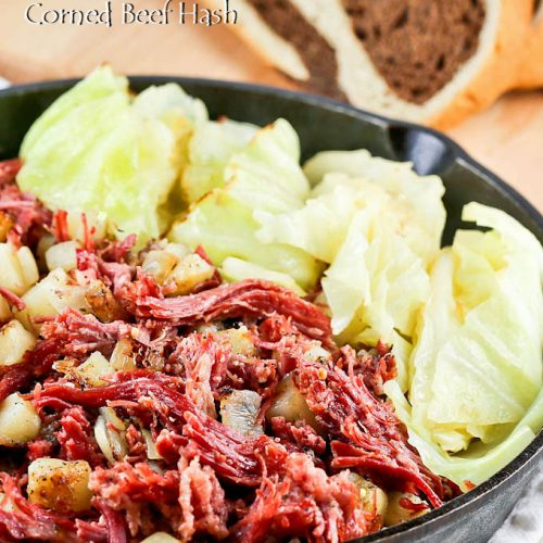 Corned Beef Hash with cabbage and marbled rye bread.