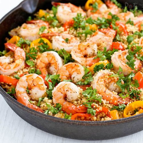 Shrimp and Sweet Pepper Couscous - a light and tasty one-skillet meal of warmly spiced shrimps, sweet peppers, and couscous. Only 20 minutes to prepare. | RotiNRice.com