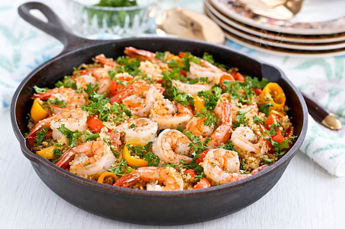Shrimp and Sweet Pepper Couscous - a light and tasty one-skillet meal of warmly spiced shrimp, sweet peppers, and couscous. Only 20 minutes to prepare. | RotiNRice.com