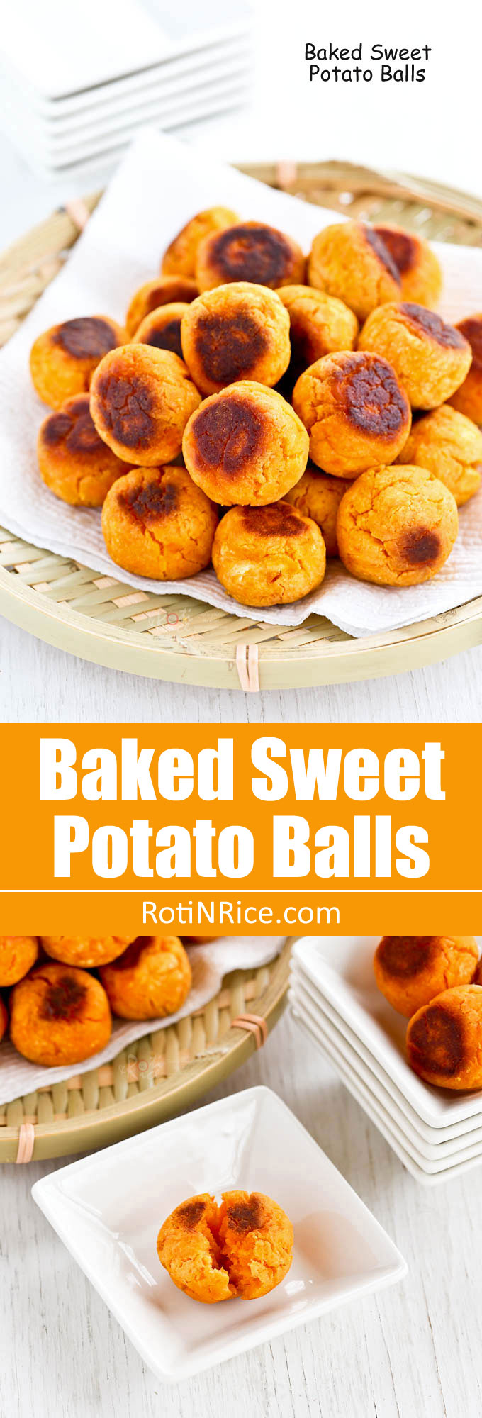 These gluten free Baked Sweet Potato Balls are a simple and tasty treat that is best eaten warm. It is a healthier alternative to the deep fried version. | RotiNRice.com