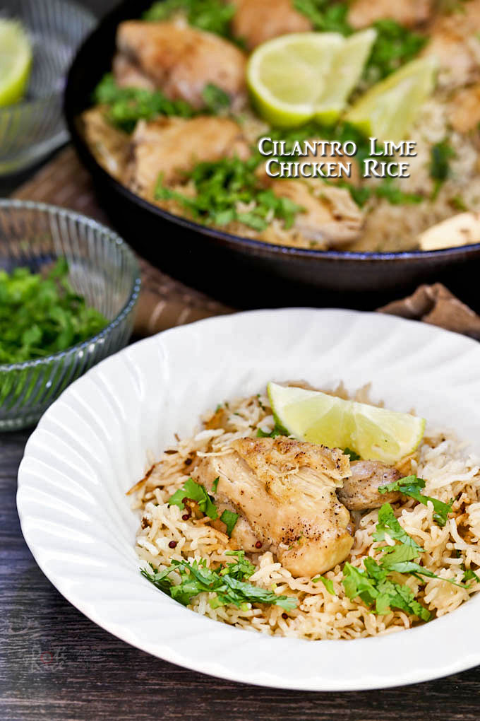 This easy to cook one-skillet, lightly spiced, zesty Cilantro Lime Chicken Rice is sure to please. It will quickly become a family favorite. | RotiNRice.com