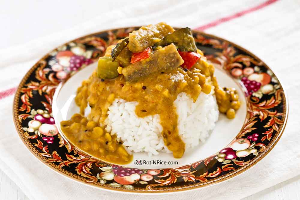 Dhal and Eggplant Curry served with rice