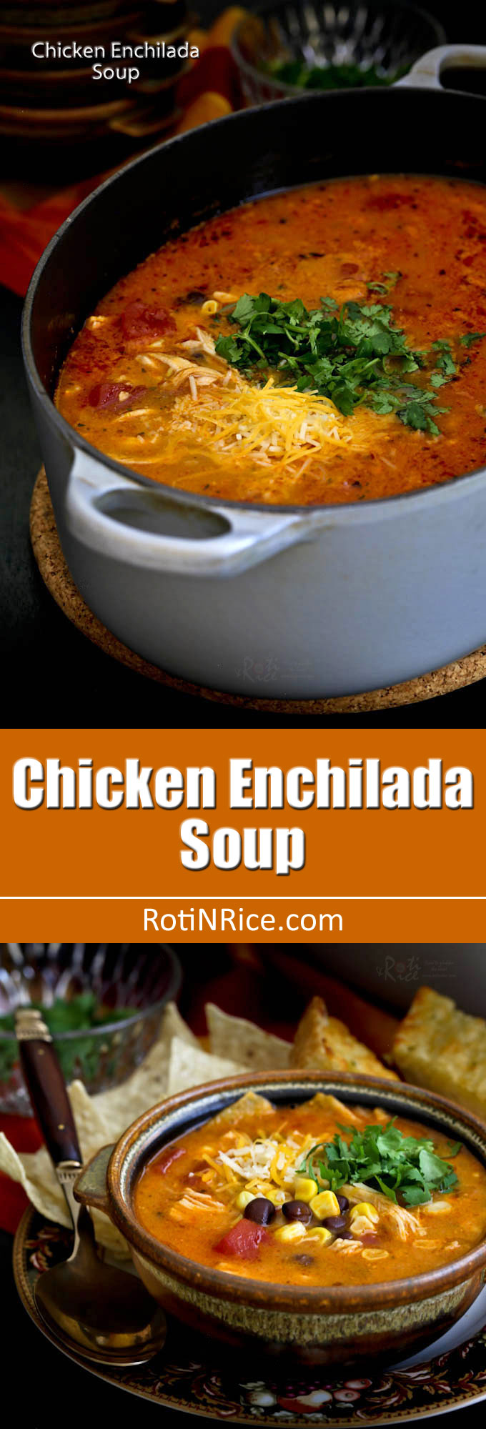Easy to prepare creamy Chicken Enchilada Soup with shredded chicken, black beans, corn, diced tomatoes, and melted cheese. So comforting and delicious! | RotiNRice.com