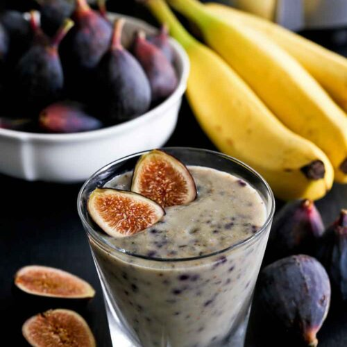 Honey sweet and earthy Fig Banana Smoothie.