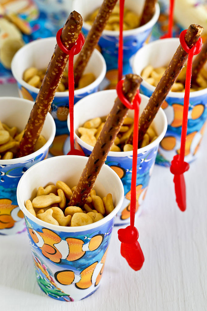 Fun, easy, and creative Fishing Theme Party Ideas for your child's next birthday or sleep-over using convenient prepackaged treats. | RotiNRice.com