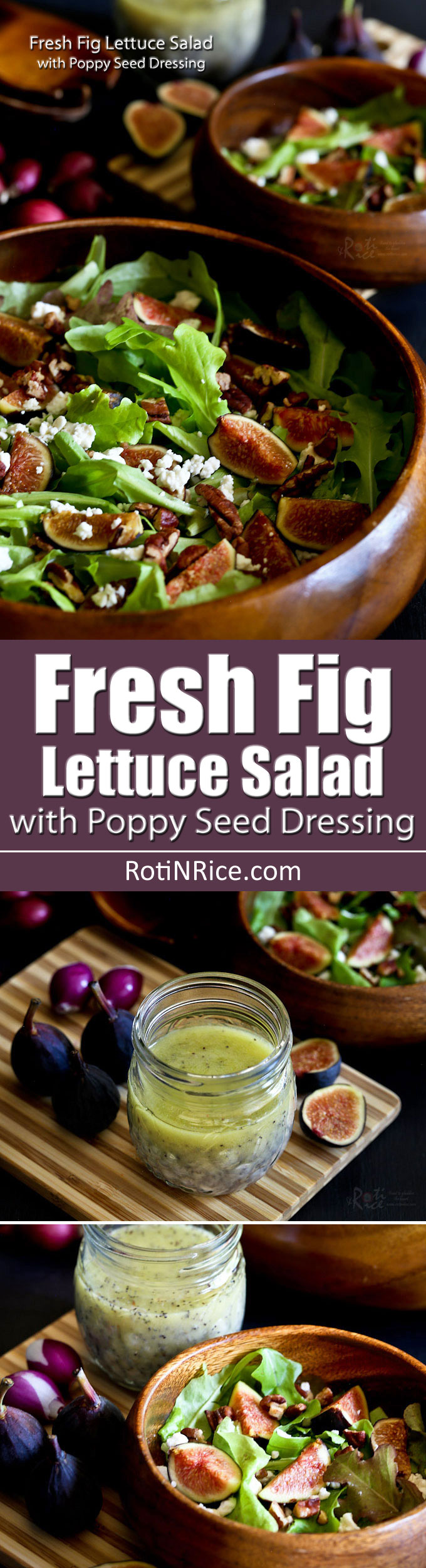 A combo of sweet and tart flavors and a variety of textures make this Fresh Fig Lettuce Salad with Poppy Seed Dressing a must-try when figs are in season. | RotiNRice.com