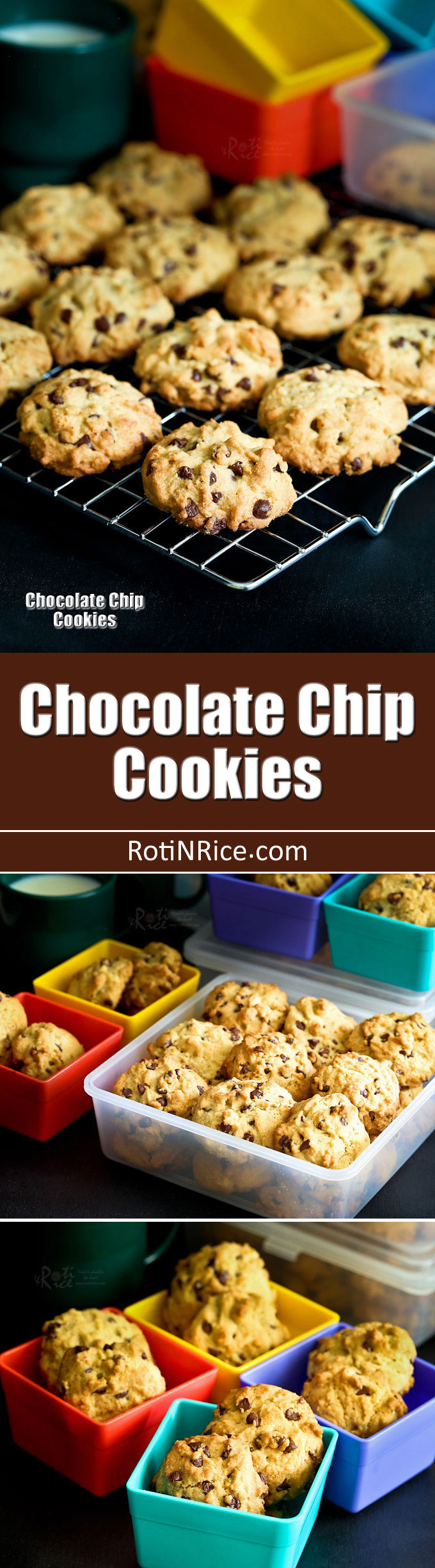 Soft, chewy, not too sweet, and almost addicting Chocolate Chip Cookies. So tasty and comforting, it is hard to stop at just one. | RotiNRice.com