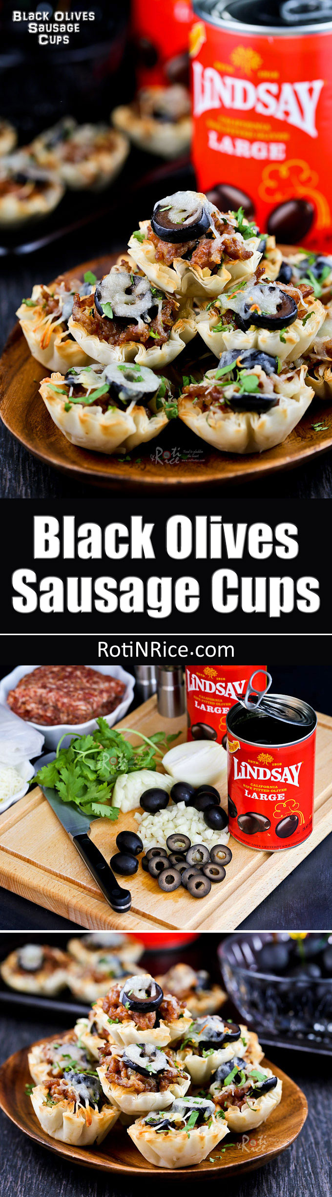 These tasty Black Olives Sausage Cups are the perfect appetizers for Game Day or any social gathering. Very quick and easy to prepare. #TeamLindsay #GameDayMoment #ad #sponsored   RotiNRice.com