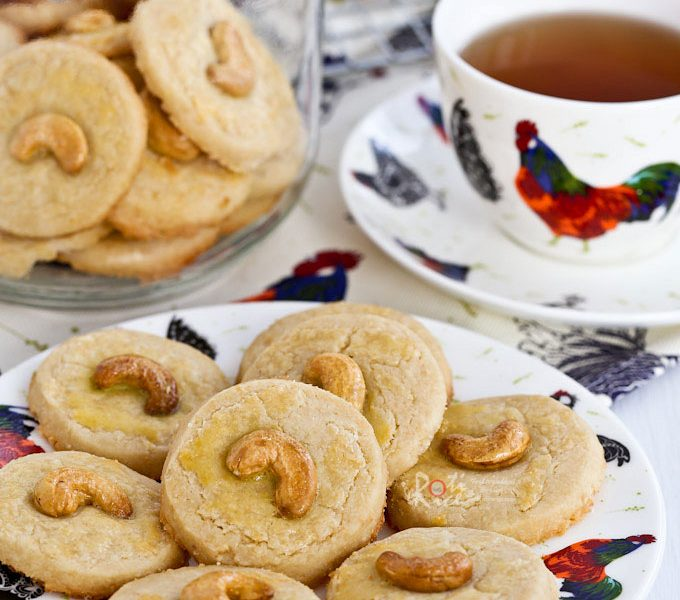 Delicious Cashew Nut Cookies with a crumbly sandy texture.