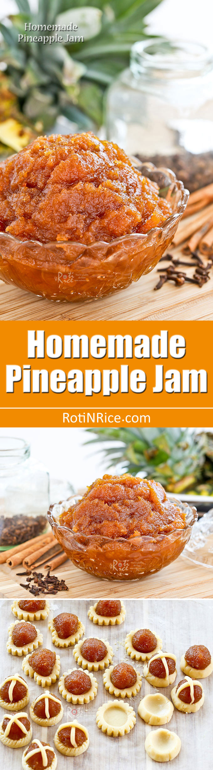 This golden Homemade Pineapple Jam is the perfect filling for mini tarts and thumbprint cookies with just the right amount of sweetness and tartness. | RotiNRice.com