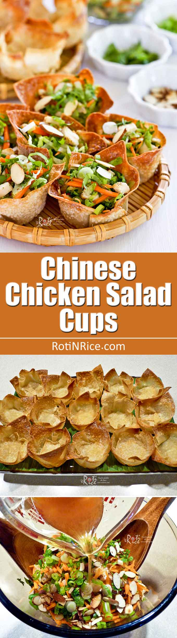 These easy to prepare Chinese Chicken Salad Cups are perfect for any social gathering. Watch them disappear as they will be everyone's favorite appetizer. | RotiNrice.com