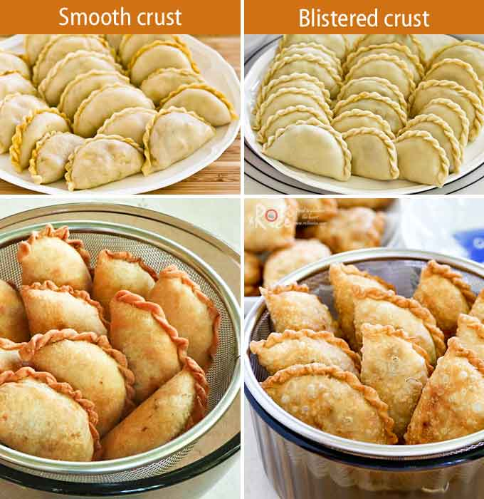 These Malaysian Cafeteria Style Karipap (Curry Puffs) with blistered crust and curried potato filling make a delicious snack or tea time treat. | RotiNRice.com