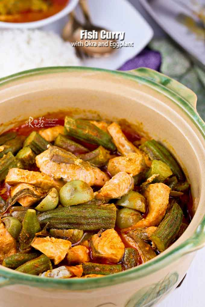 There is no need to grind or make a spice paste in this quick and easy one-pot Fish Curry with Okra and Eggplant. Just as tasty and delicious. | RotiNRice.com