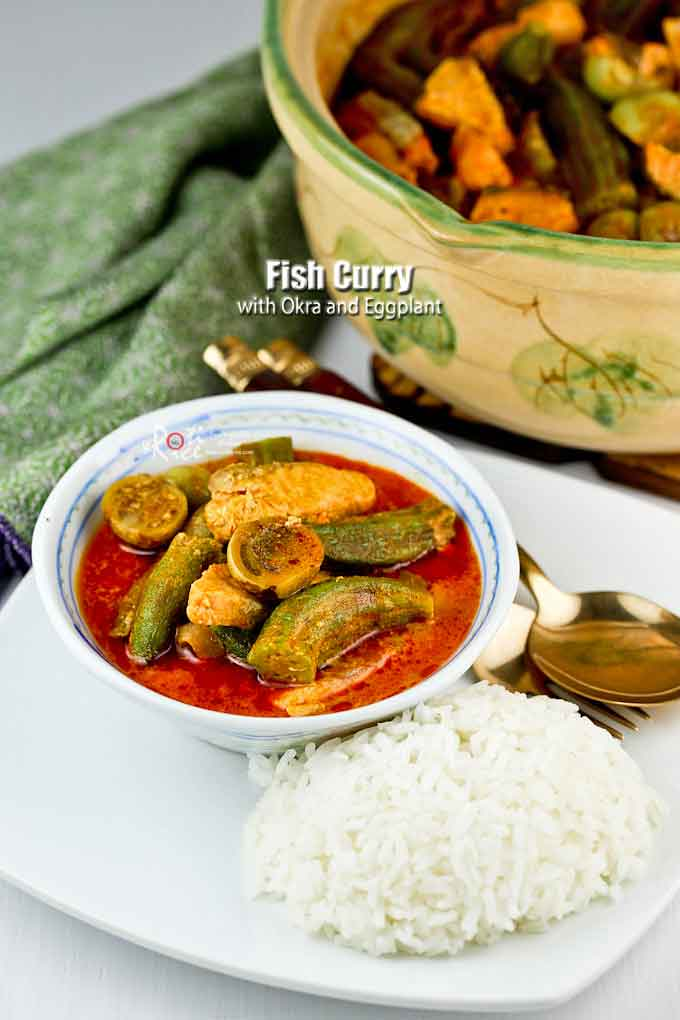 Delicious Fish Curry with Okra and Eggplant served with rice.
