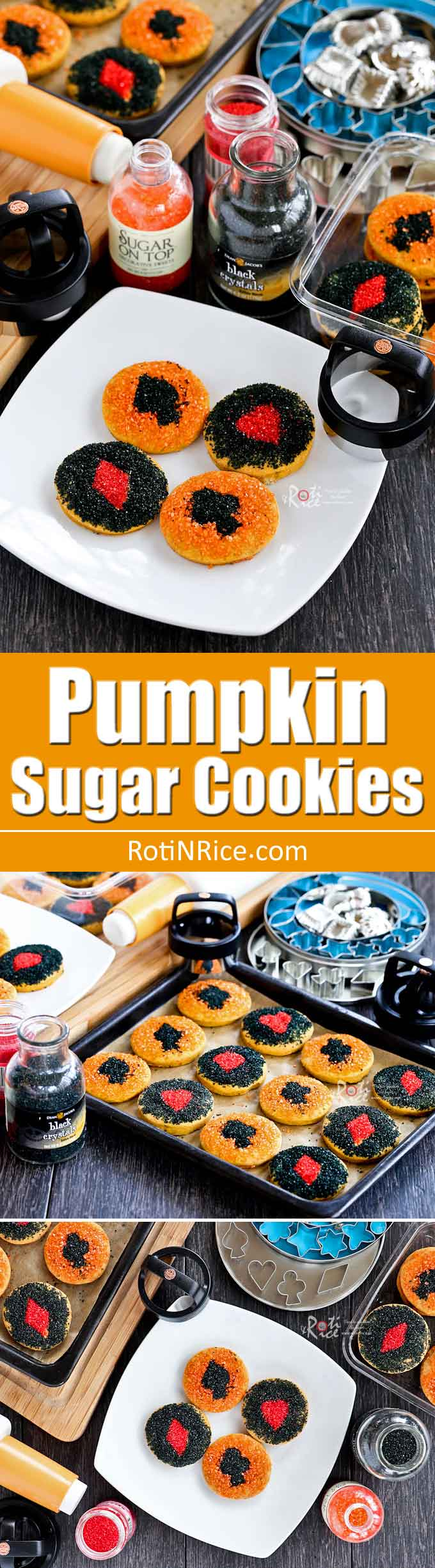 These soft, lightly spiced Pumpkin Sugar Cookies with colorful sprinkles are a delicious way to enjoy the Fall flavors. Also, great for a Fall themed party. | RotiNRice.com