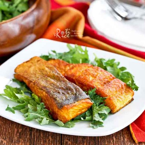 Only 4 ingredients and less than 20 minutes to make this Crispy Skin Turmeric Salmon. Quick, easy, delicious, and perfect for any day of the week.   RotiNRice.com