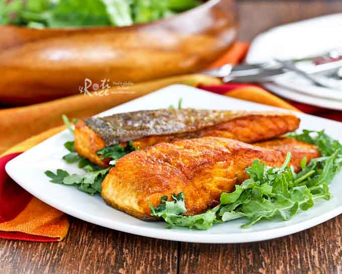 Only 4 ingredients and less than 20 minutes to make this Crispy Skin Turmeric Salmon. Quick, easy, delicious, and perfect for any day of the week. | RotiNRice.com